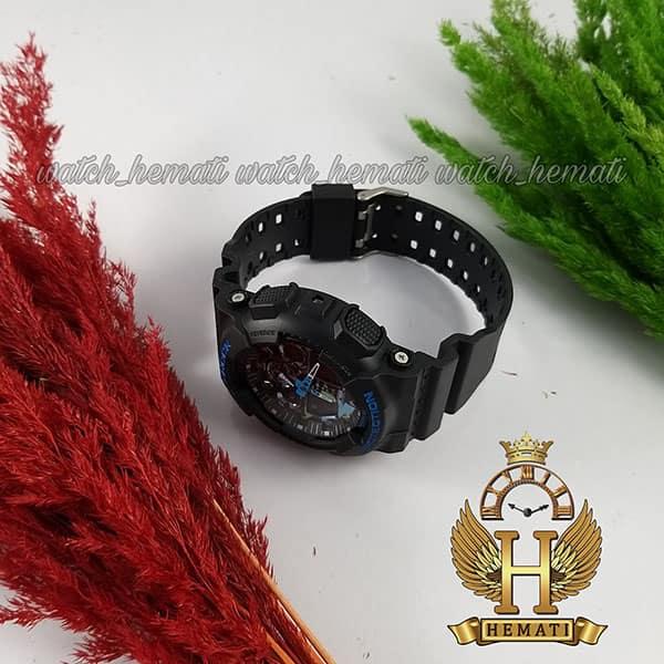 خرید اینترنتی ساعت مردانه کاسیو جی شاک Casio G-Shock GA-100CM R قاب وبند مشکی با صفحه آبی