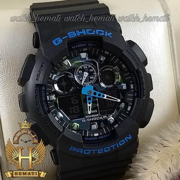 خرید انلاین ساعت مردانه کاسیو جی شاک Casio G-Shock GA-100CM R قاب وبند مشکی با صفحه آبی