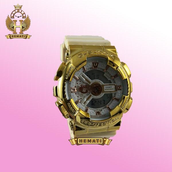ساعت مردانه کاسیو جی شاک Casio G-Shock GA-110LB قاب طلایی و بند سفید