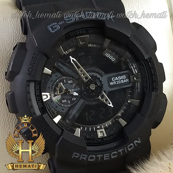 خرید ساعت مردانه کاسیو جی شاک Casio G-Shock GA-110RG مشکی و داخل صفحه نقره ای