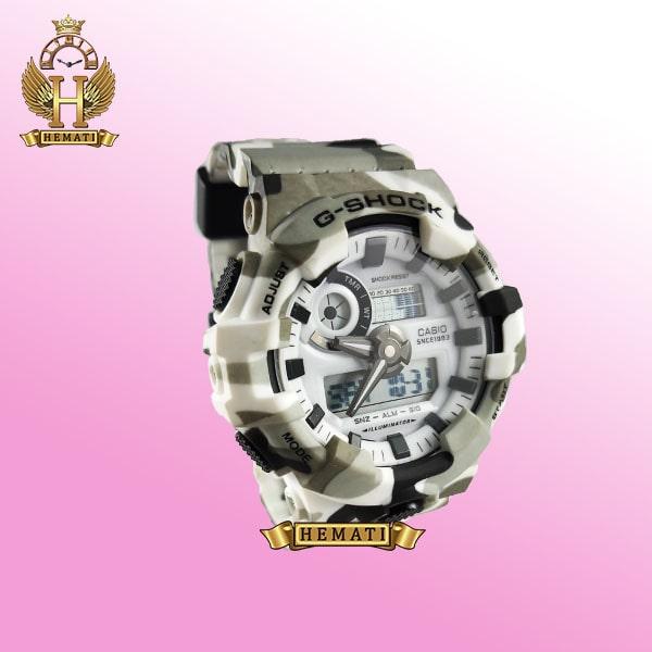 ساعت مردانه کاسیو جی شاک Casio G-Shock GA-700 رنگ سفید با خال مشکی و طوسی