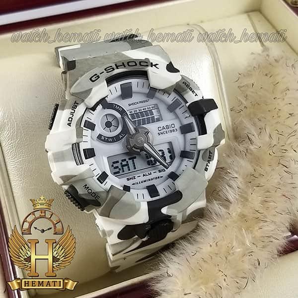 خرید اینترنتی ساعت مردانه کاسیو جی شاک Casio G-Shock GA-700 رنگ سفید با خال مشکی و طوسی