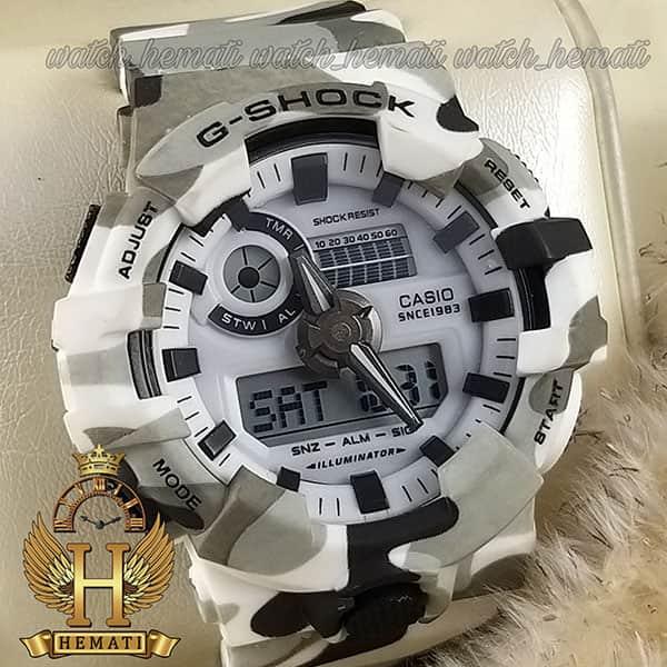 خرید ، قیمت ، مشخصات ساعت مردانه کاسیو جی شاک Casio G-Shock GA-700 رنگ سفید با خال مشکی و طوسی