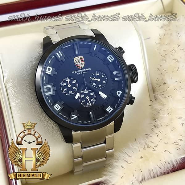 خرید اینترنتی ساعت مردانه پورشه دیزاین بند فلز PORSCHE DESIGN JP-24056M POD201 قاب و صفحه مشکی ، بند نقره ای