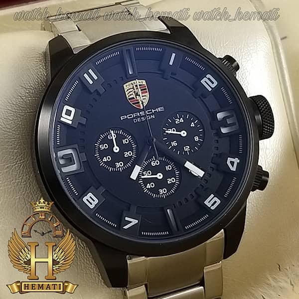 خرید ، قیمت ، مشخصات ساعت مردانه پورشه دیزاین بند فلز PORSCHE DESIGN JP-24056M POD201 قاب و صفحه مشکی ، بند نقره ای