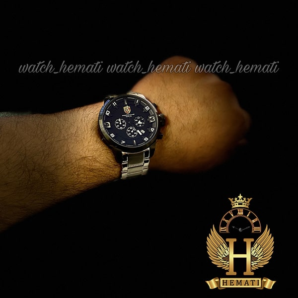 خرید ارزان ساعت مردانه پورشه دیزاین بند فلز PORSCHE DESIGN JP-24056M POD201 قاب و صفحه مشکی ، بند نقره ای