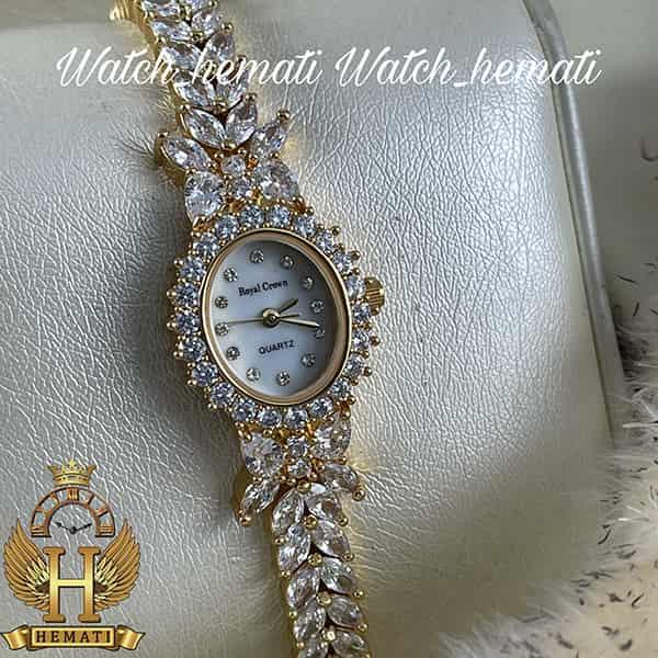 خرید ارزان ساعت زنانه رویال کرون Royal Crown 2527 مدل پروانه به رنگ طلایی تک دور بند با نگین سوارفسکی