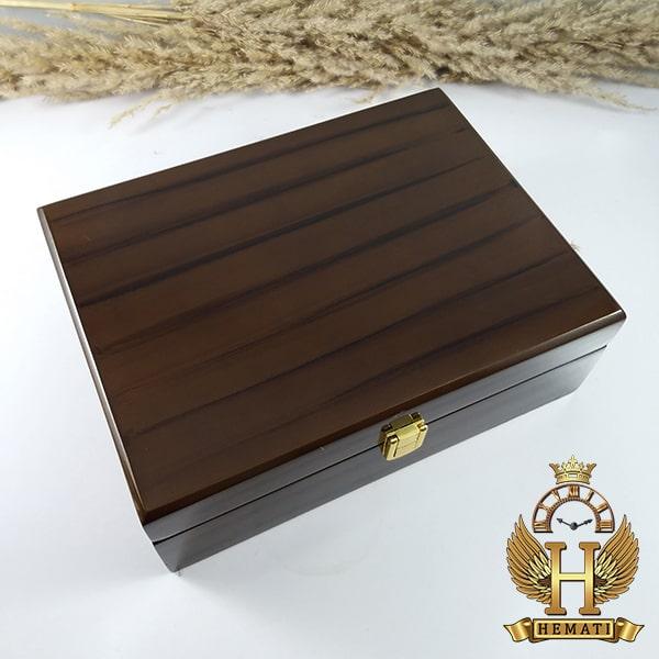 مشخصات جعبه ساعت لوکس کلکسیونی چوبی 6تایی درب چوبی box6201 قهوه ای