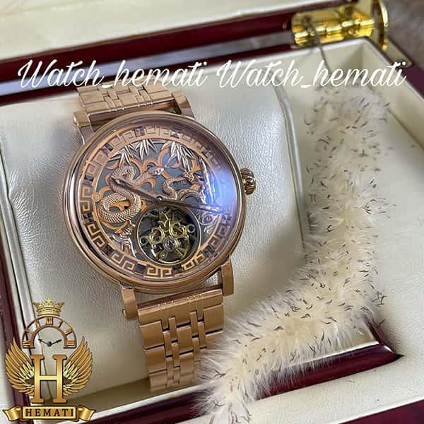 مشخصات ساعت مچی مردانه پتک فیلیپ اتوماتیک Patek Philippe PP100 صفحه طرح مار رنگ رزگلد