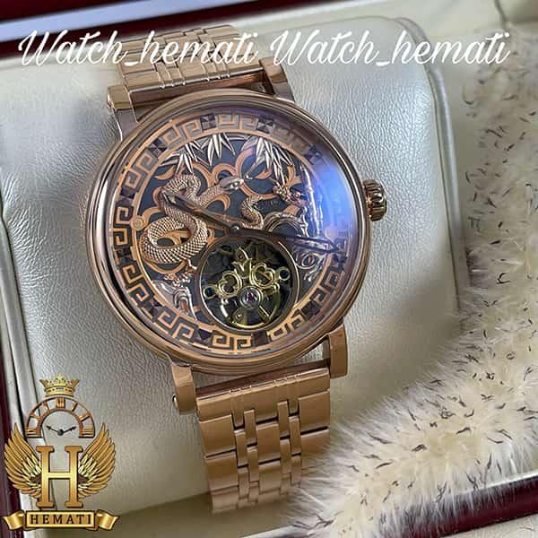 خرید ساعت مردانه پتک فیلیپ اتوماتیک Patek Philippe PP100 صفحه طرح مار رنگ رزگلد