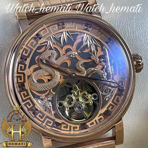قیمت ساعت مردانه پتک فیلیپ اتوماتیک Patek Philippe PP100 صفحه طرح مار رنگ رزگلد