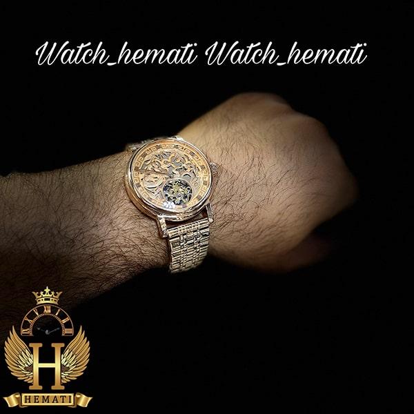 خرید اینترنتی ساعت مردانه پتک فیلیپ اتوماتیک Patek Philippe PP100 صفحه طرح مار رنگ رزگلد
