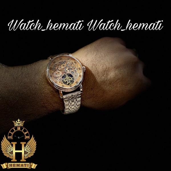 خرید انلاین ساعت مردانه پتک فیلیپ اتوماتیک Patek Philippe PP100 صفحه طرح مار رنگ رزگلد