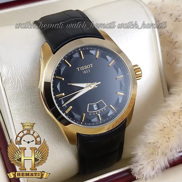 خرید ، قیمت ، مشخصات ساعت مردانه تیسوت بند چرم مشکی مدل 031G قاب طلایی
