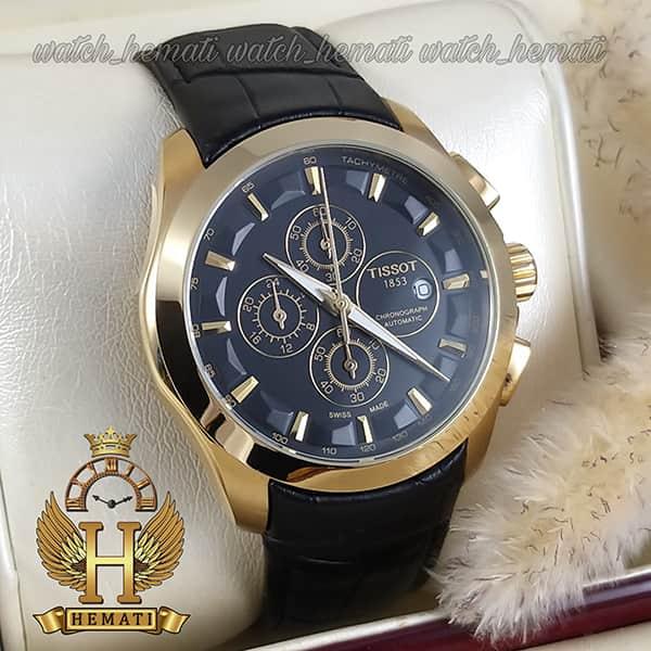 خرید ، قیمت ، مشخصات ساعت مردانه تیسوت بند چرم مشکی مدل 035G قاب طلایی