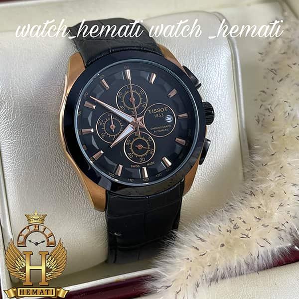 خرید انلاین ساعت مردانه تیسوت بند چرم مشکی مدل 035G قاب مشکی_رزگلد