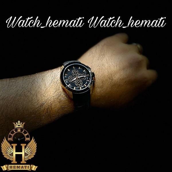 خرید اینترنتی ساعت مردانه تیسوت بند چرم مشکی مدل 035G قاب مشکی_رزگلد