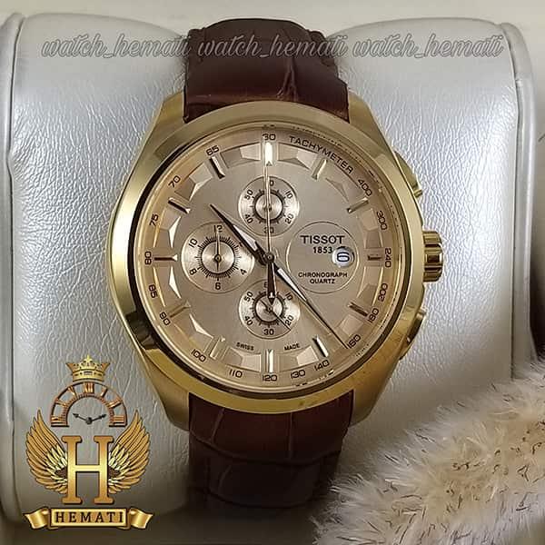 خرید ، قیمت ، مشخصات ساعت مردانه تیسوت بند چرم قهوه ای مدل 035G قاب طلایی