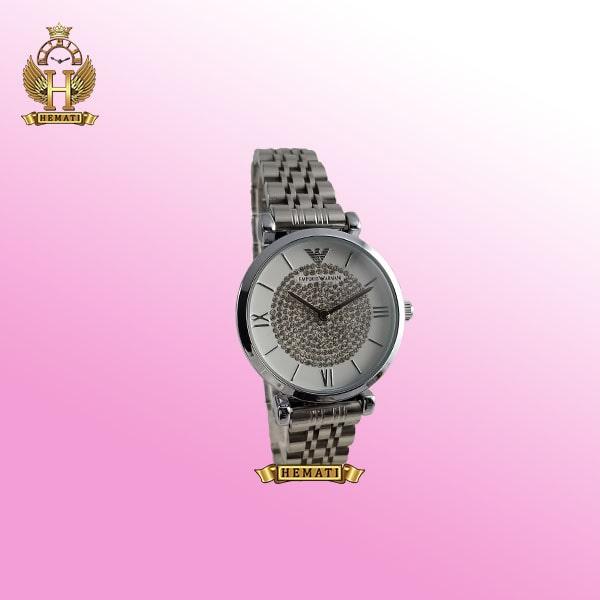 ساعت زنانه امپریو آرمانی AR102 قاب و بند نقره ای با صفحه نگین دار سفید