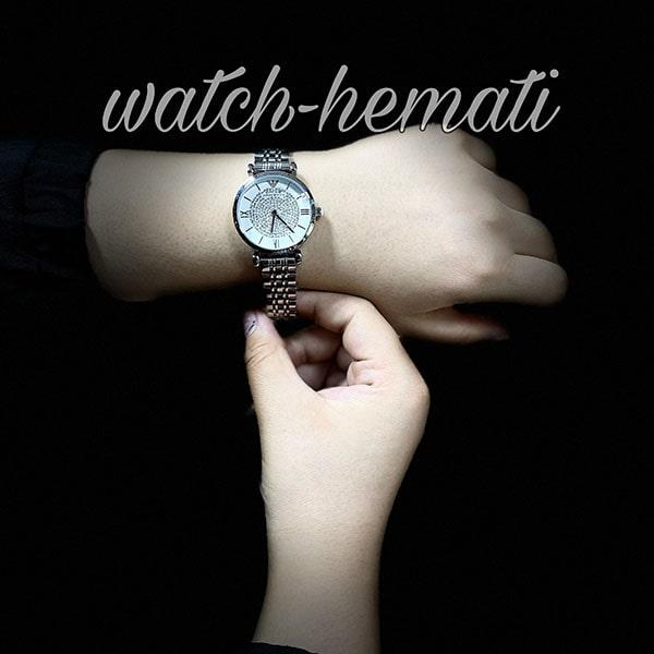 خرید انلاین ساعت زنانه امپریو آرمانی AR102 قاب و بند نقره ای با صفحه نگین دار سفید