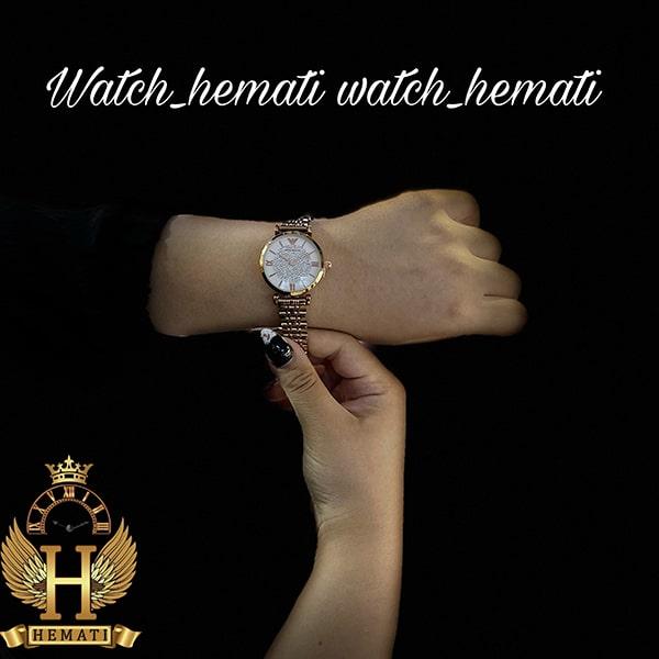 قیمت ساعت زنانه امپریو آرمانی AR100 صفحه نگین دار با قاب و بند رزگلد