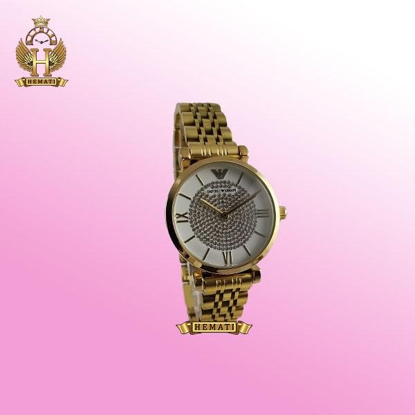 ساعت زنانه امپریو آرمانی AR101 قاب و بند طلایی با صفحه نگین دار سفید