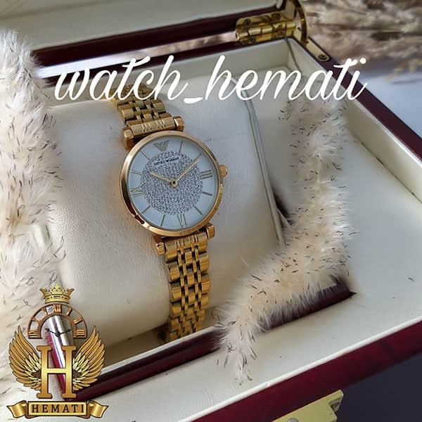 خرید اینترنتی ساعت زنانه امپریو آرمانی AR101 قاب و بند طلایی با صفحه نگین دار سفید