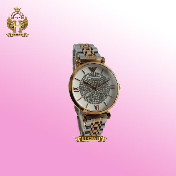 ساعت زنانه امپریو آرمانی AR103 قاب رزگلد با بند نقره ای و رزگلد و صفحه نگیندار سفید
