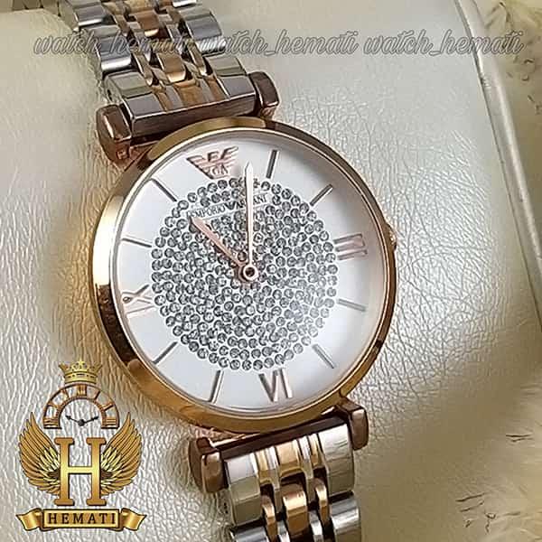 خرید ارزان ساعت زنانه امپریو آرمانی AR103 قاب رزگلد با بند نقره ای و رزگلد و صفحه نگیندار سفید