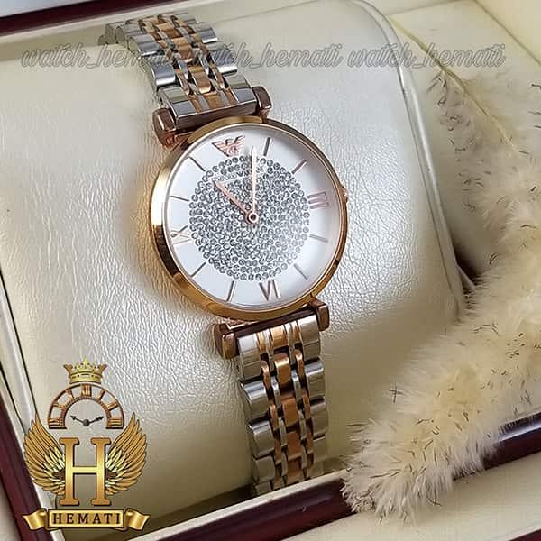 خرید ، قیمت ، مشخصات ساعت زنانه امپریو آرمانی AR103 قاب رزگلد با بند نقره ای و رزگلد و صفحه نگیندار سفید