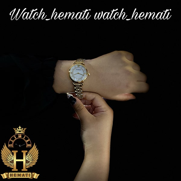 خرید ، قیمت ، مشخصات ساعت زنانه امپریو آرمانی AR105 قاب و بند طلایی با صفحه سفید صدف