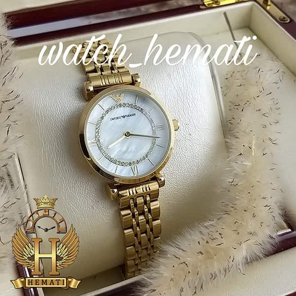 خرید ارزان ساعت زنانه امپریو آرمانی AR105 قاب و بند طلایی با صفحه سفید صدف