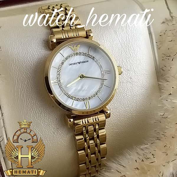 خرید اینترنتی ساعت زنانه امپریو آرمانی AR105 قاب و بند طلایی با صفحه سفید صدف