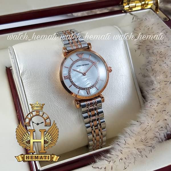 خرید ، قیمت ، مشخصات ساعت زنانه امپریو آرمانی AR108 قاب رزگلد با بند نقره ای رزگلد و صفحه سفید صدفی