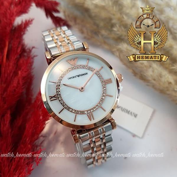 خرید ارزان ساعت زنانه امپریو آرمانی AR108 قاب رزگلد با بند نقره ای رزگلد و صفحه سفید صدفی