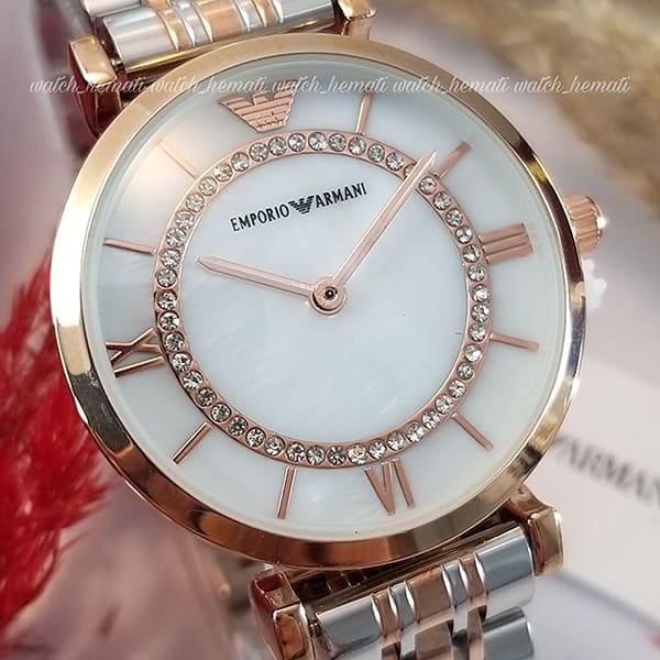 ساعت زنانه امپریو آرمانی AR108 قاب رزگلد با بند نقره ای رزگلد و صفحه سفید صدفی