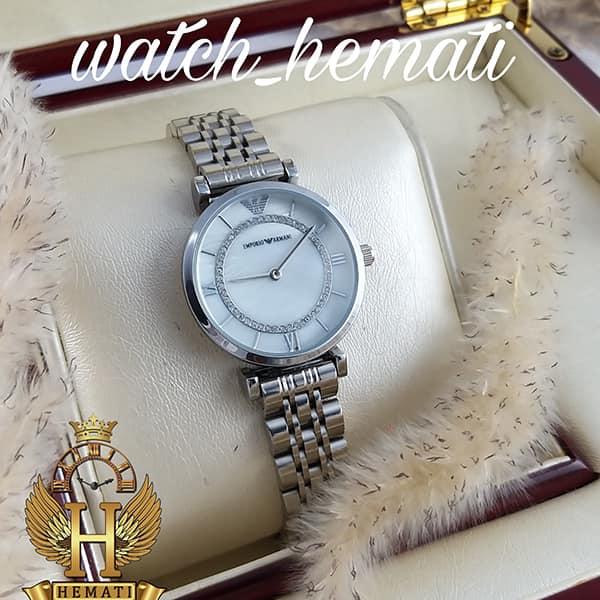 خرید ، قیمت ، مشخصات ساعت زنانه امپریو آرمانی AR106 قاب و بند نقره ای با صفحه سفید صدف