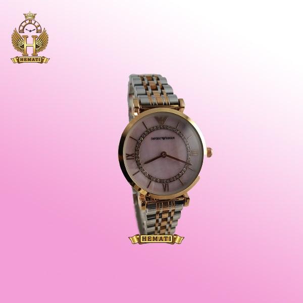 ساعت زنانه امپریو آرمانی AR107 قاب رزگلد با بند نقره ای رزگلد و صفحه صورتی