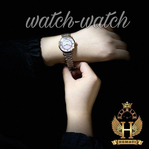 خرید ، قیمت ، مشخصات ساعت زنانه امپریو آرمانی AR107 قاب رزگلد با بند نقره ای رزگلد و صفحه صورتی