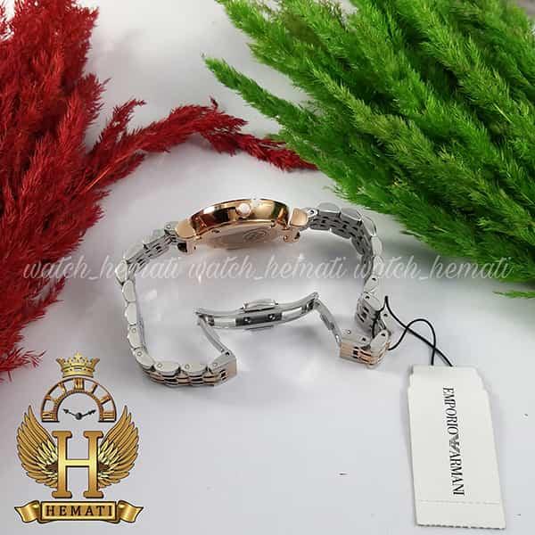 خرید اینترنتی ساعت زنانه امپریو آرمانی AR107 قاب رزگلد با بند نقره ای رزگلد و صفحه صورتی