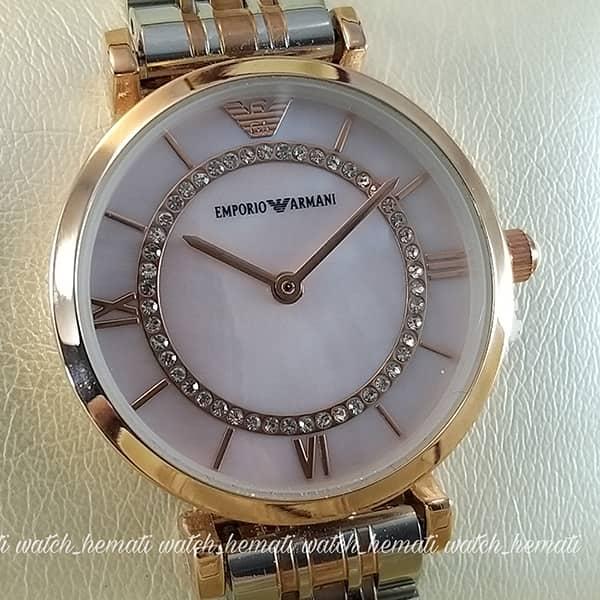 خرید ارزان ساعت زنانه امپریو آرمانی AR107 قاب رزگلد با بند نقره ای رزگلد و صفحه صورتی
