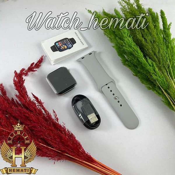عکس جعبه ساعت هوشمند Smart Watch HW16 به رنگ قاب نقره ای با بند طوسی