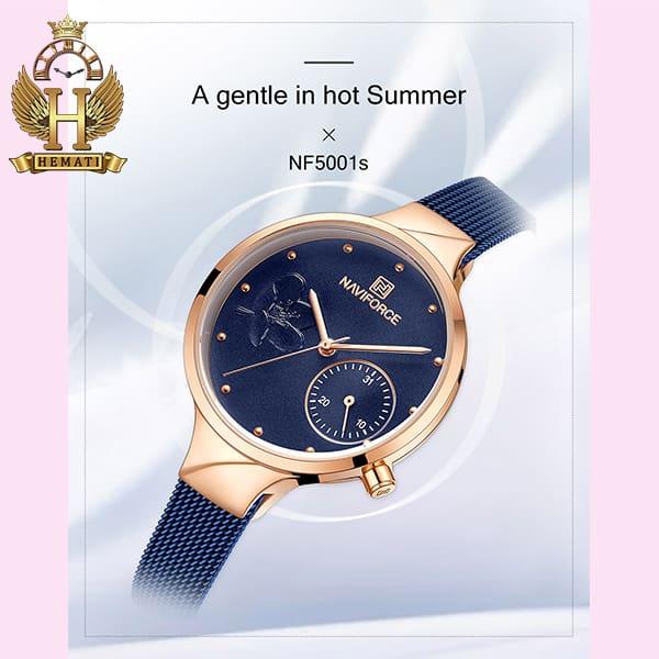 خرید انلاین ساعت مچی زنانه نیوی فورس Naviforce NF5001L سرمه ای رزگلد