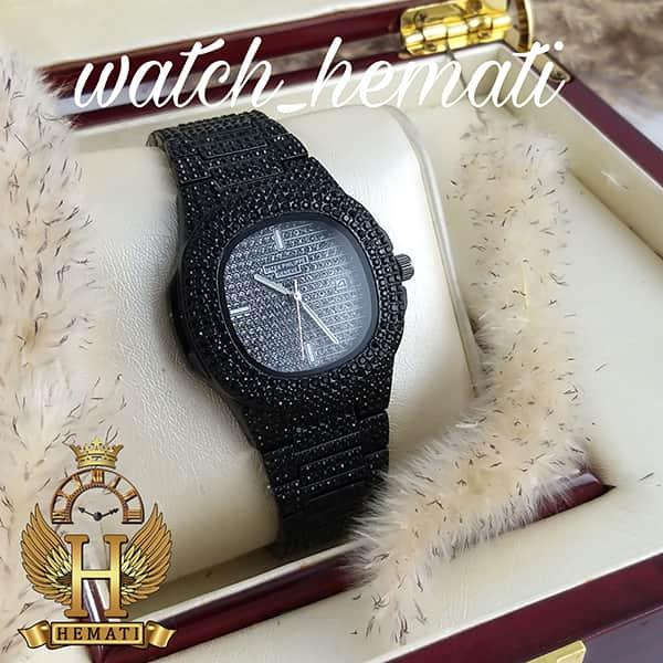خرید ، قیمت ، مشخصات ساعت پتک فیلیپ نگین دار ناتیلوس Patek Philippe Nautilus قاب و بند مشکی