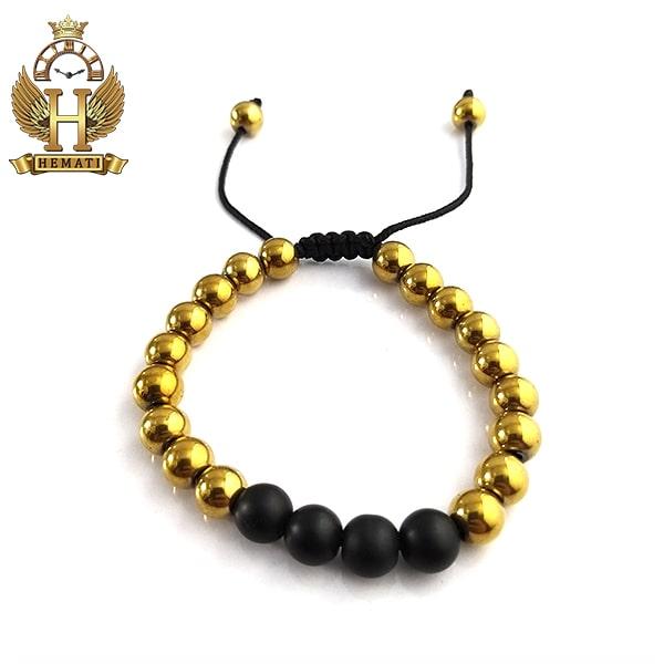 دستبند بافت با سنگ اونیکس و حدید DDD1403 طلایی