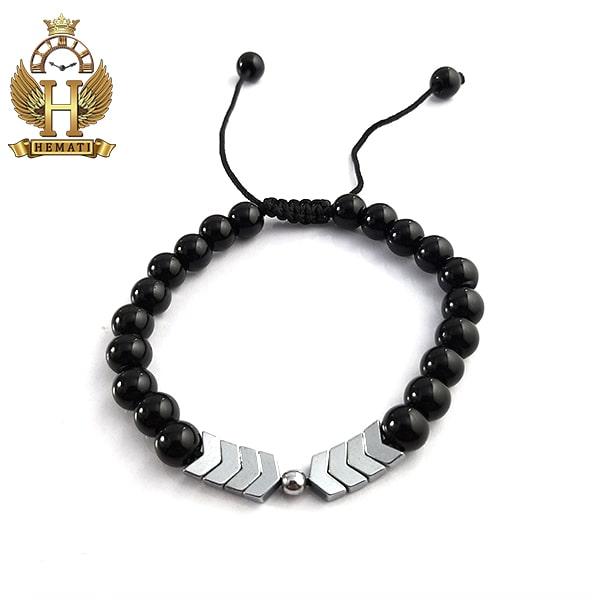 دستبند بافت با سنگ اونیکس DDD1405