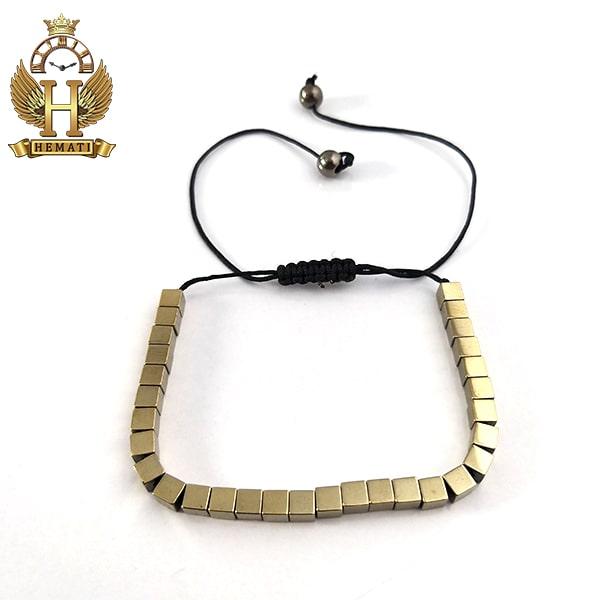 دستبند بافت با سنگ حدید DDD1210 طلایی