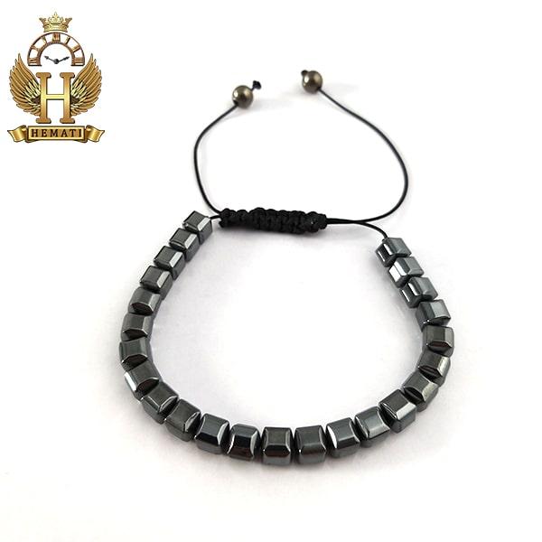 دستبند بافت با سنگ حدید DDD1201 طوسی