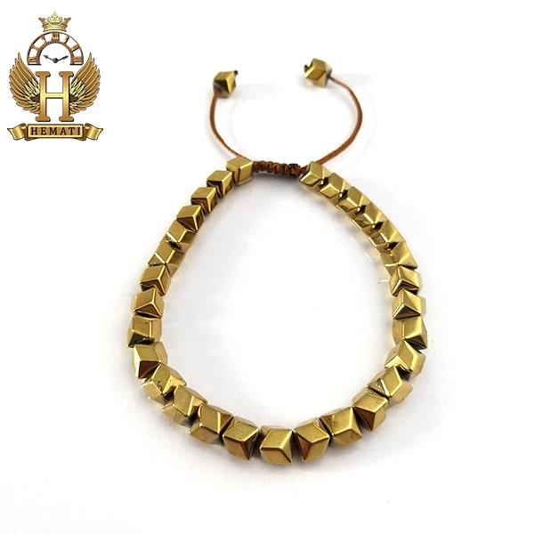دستبند بافت با سنگ حدید DDD1202 طلایی