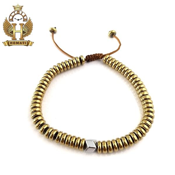 دستبند بافت با سنگ حدید DDD1206 طلایی